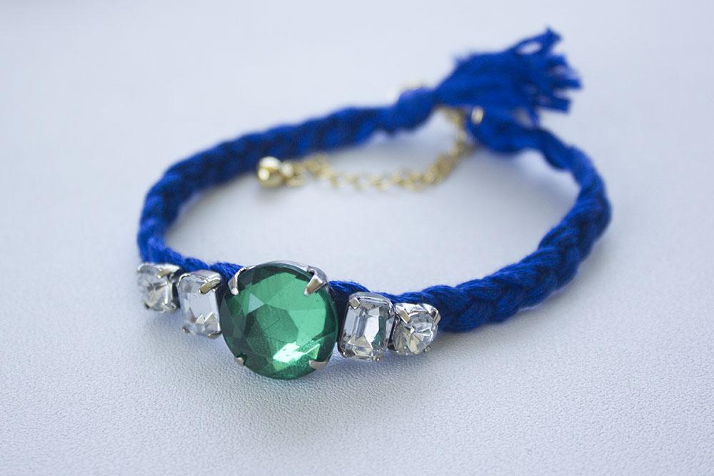 diy braided rhinestone friendship bracelet lusting for